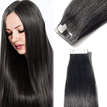 55d10420976 40pcs Tape in Hair Extensions 100% Remy Human Hair Straight Skin Weft Hair  Extensions (18inch 100g, 40pcs/set, 1 Jet Black)