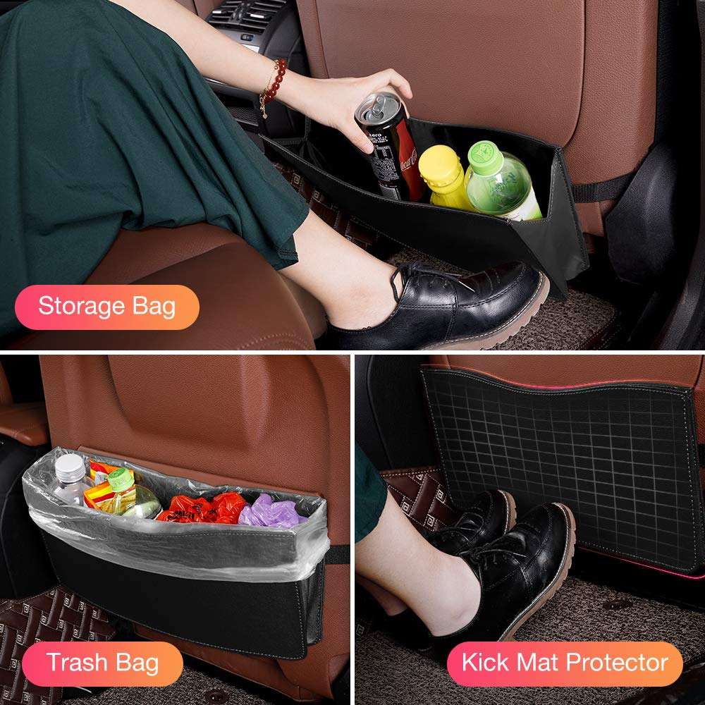 QUEES Car Trash Can Garbage Bag Organizer Interior Accessories Waste Basket Bin Best for Hanging Font on Back Seat Vehicle Bags Holder Kick Mat for Automotive Cars SUV Truck Mini Van