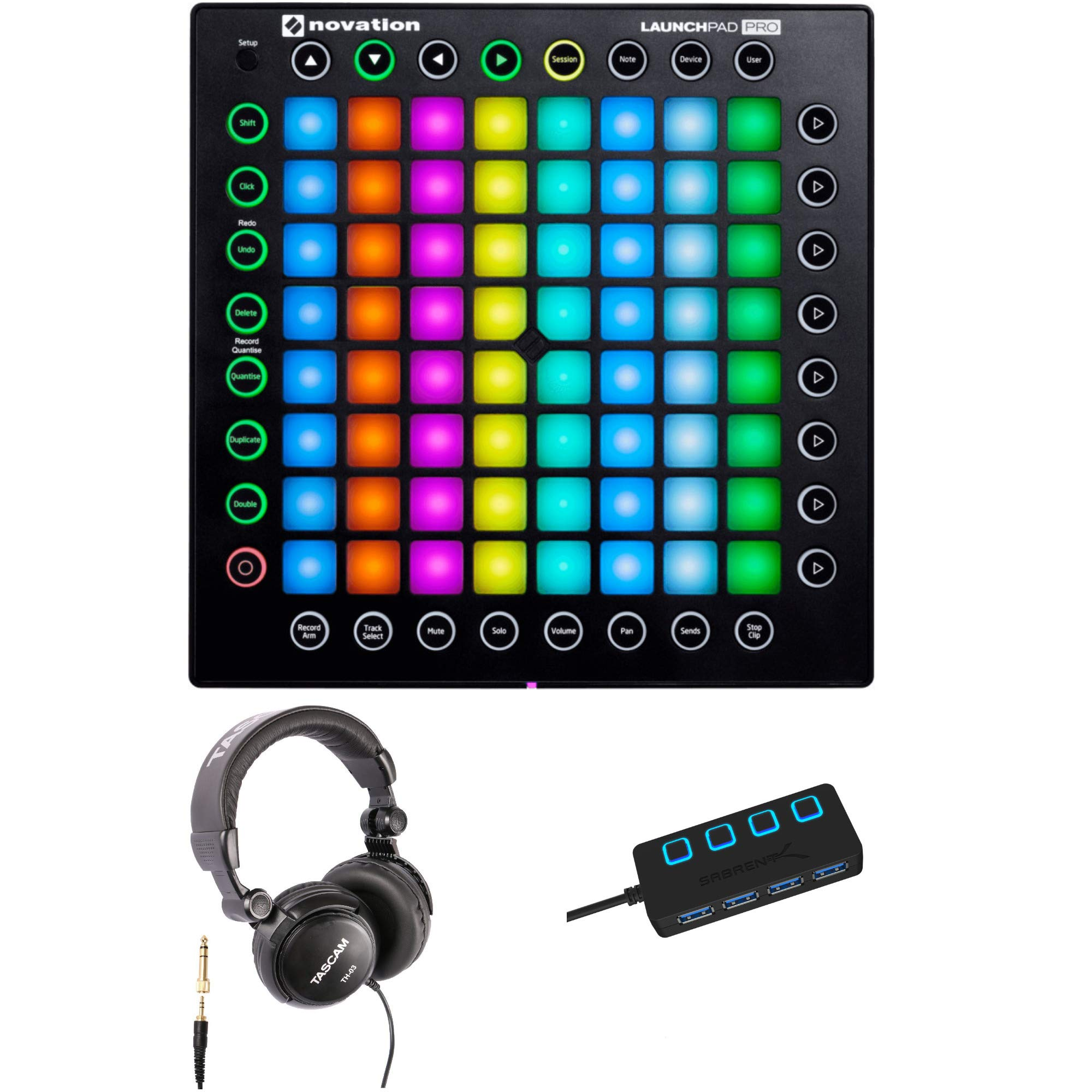 Novation Launchpad Pro USB MIDI Ableton Live Controller with Headphones and 4-Port 3.0 USB HUB