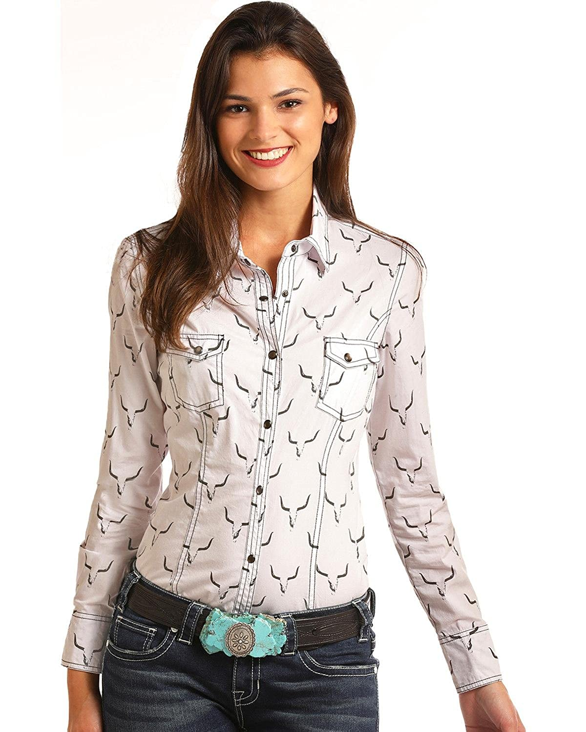 Amazon Rock Roll Cowgirl Womens And Steer Skull Long Sleeve