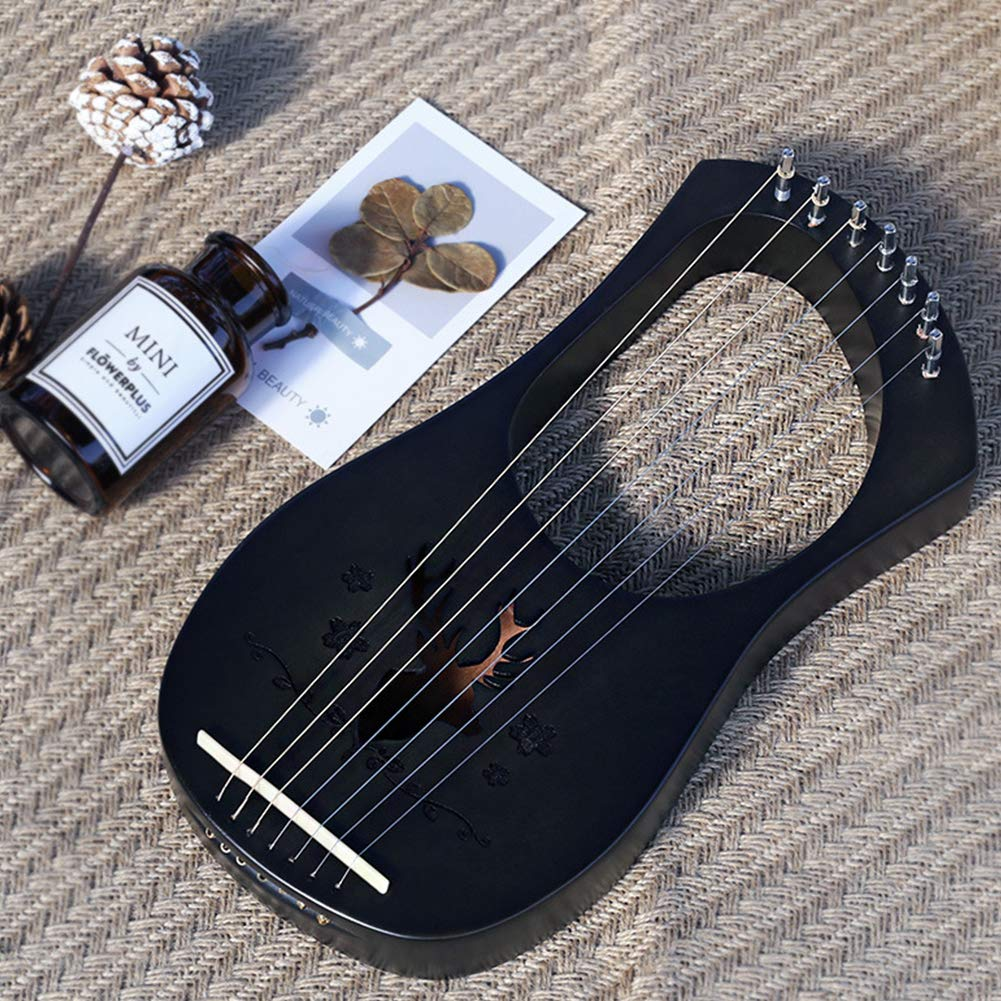 QuTess Lyre Harp 7 Strings Mahogany Wood String Instrument Lyra Harps Lyre Harfe Perfect for for Beginner Music Lovers Birthday Gift by QuTess