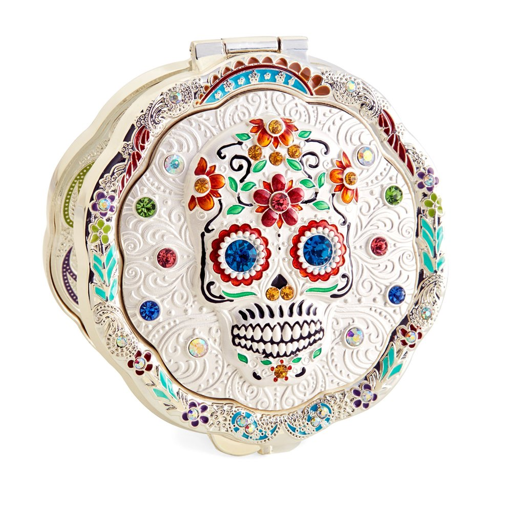 Jinvun Compact Personal Mirror for Makeup (Sugar Skull) Round, Handheld Portable | Vintage, Antique Day of the Dead Decorations | Purse, Small Bag, and Travel Carry | Foldable, Flip Open