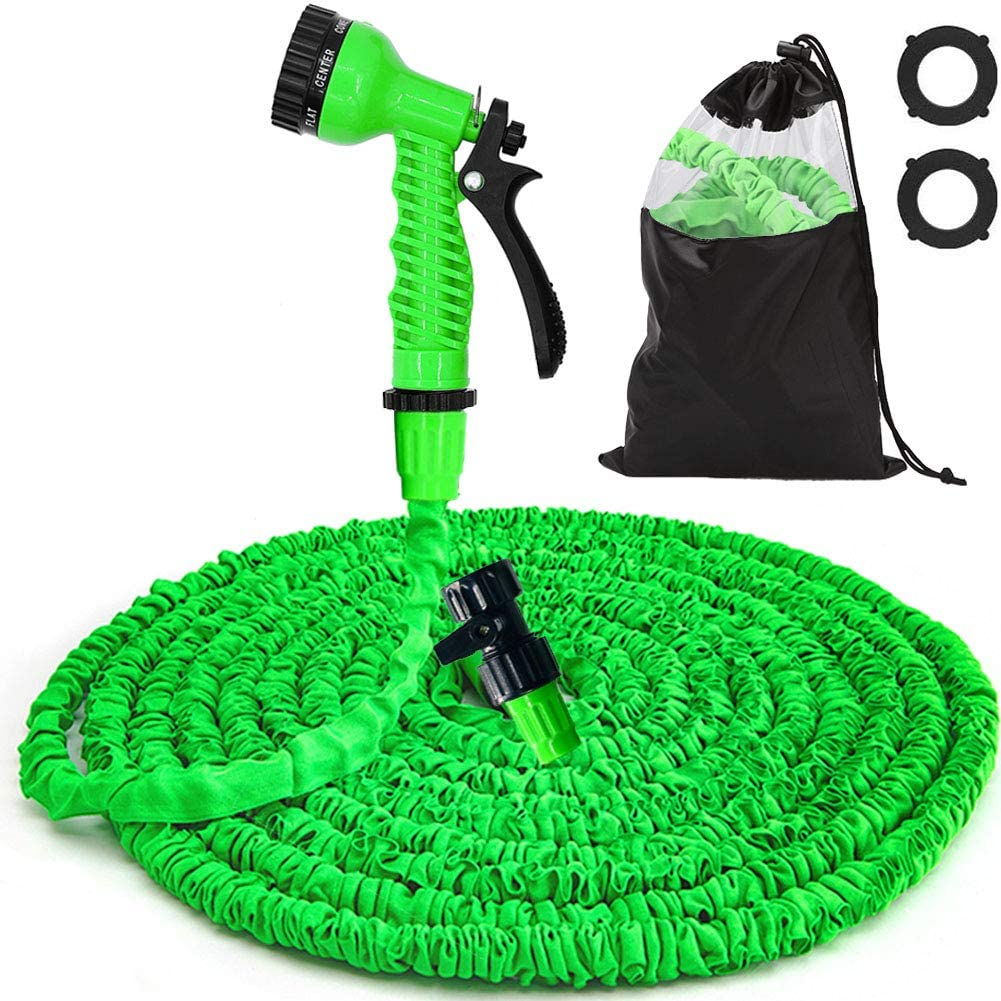 Dprofy Expandable Garden Hose 50FT - Flexible Water Hose with 7 Function Spray Nozzle, Durable Triple Layer Latex Core, for Gardening Lawn Car Pet Washing (Green)