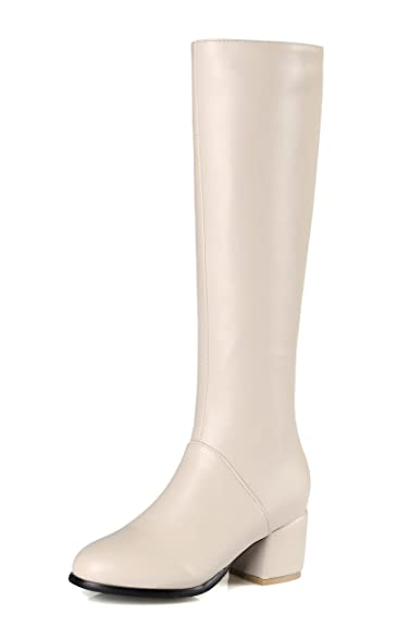 Femme D'Orteil Talon Bas PU Haut Fermeture Cuir AgeeMi Zip Shoes à 15SywF4Uq