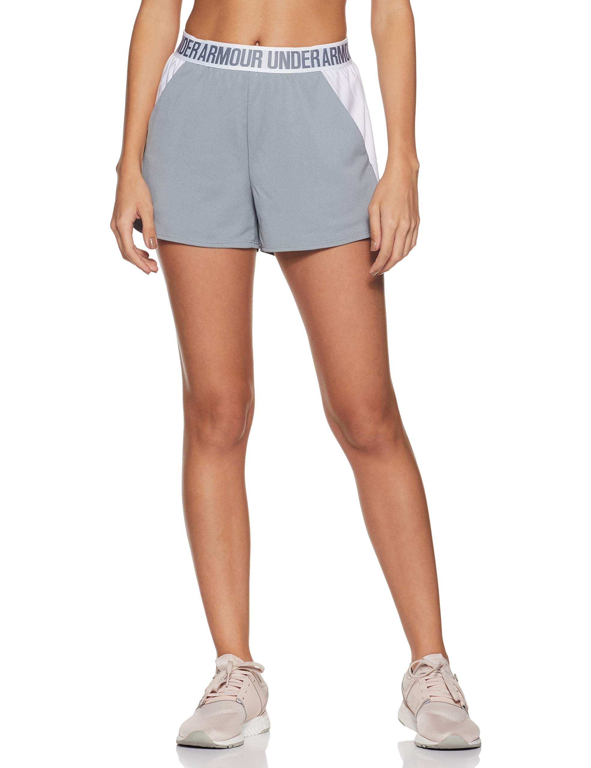 Under Armour Women's Play Up Shorts 2.0, True Gray Heather (025)/White, XX-Small
