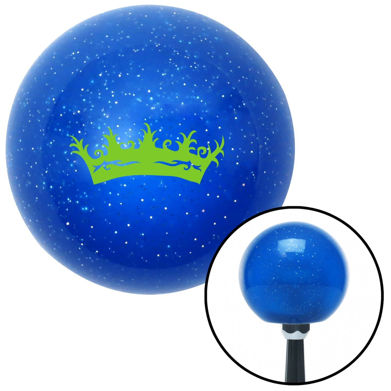 American Shifter 23562 Blue Metal Flake Shift Knob Green Prince Crown