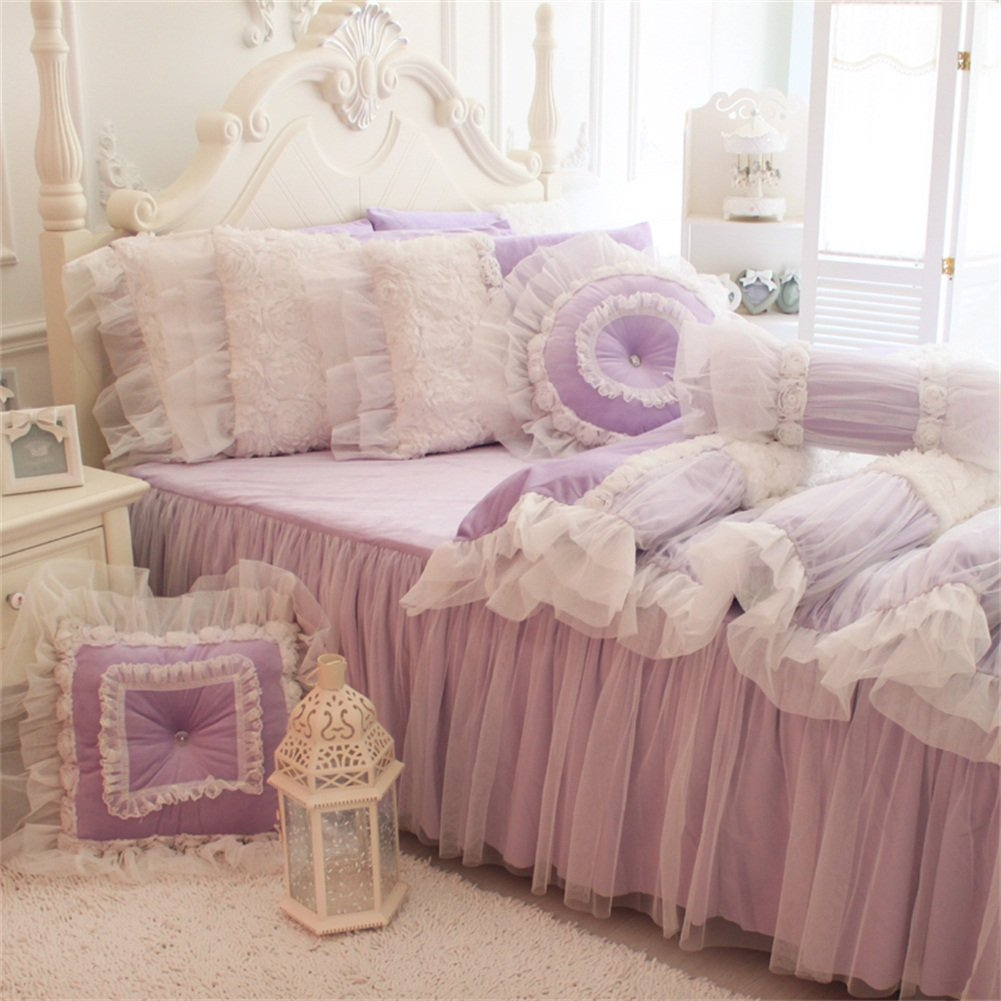 FADFAY White Lace Ruffle Bedding Set, Flannel Bedding Duvet Cover Set Luxury Korean Rose Bedding Cozy Short Plush Microfiber Cute Girls Fairy Princess Romantic Love Wedding Bedding 7Pcs Purple King