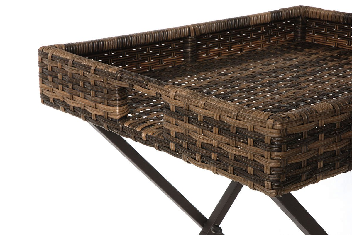 Creative Living 10093384 Patio Wicker Side Table Butler Tray, Walnut - Folding stand for easy serving and storage Handles make it easy to move around 100% handmade - patio-tables, patio-furniture, patio - 71TREWBxKwL -