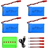 Noiposi 4pcs 3.7V 780mAh 20C Lipo Battery with X6 Charger for Wltoys V636 Quadcopter