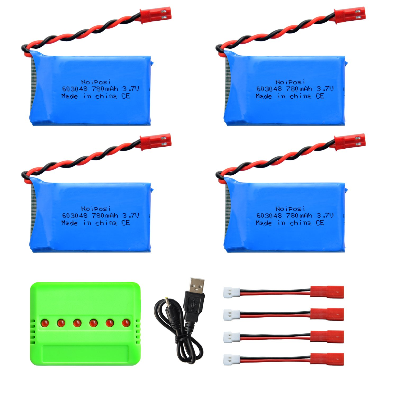 Noiposi 4pcs 3.7V 780mAh 20C Lipo Battery with X6 Charger for Wltoys V636 Quadcopter YiHuaXing