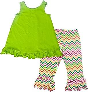product image for Cheeky Banana Little Girls Swing top & Ruffle Legging Capris Lime Chevron