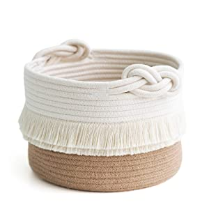 CherryNow Small Woven Storage Baskets Cotton and Jute Rope Decorative Hamper for Diaper, Blankets, Magazine and Keys, Cute Tassel Nursery Decor - Home Storage Container – 9.5'' x 7''