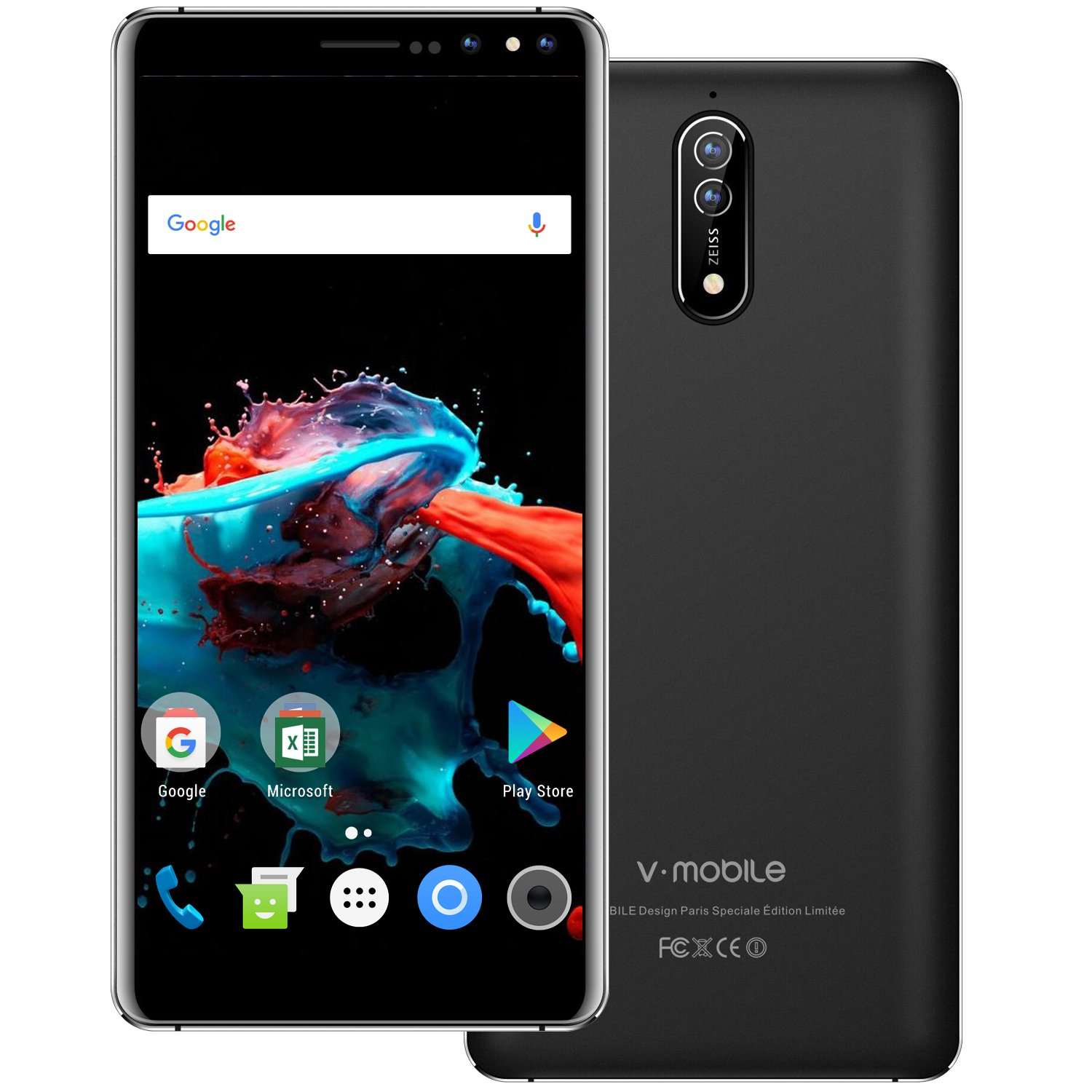 Unlocked Smartphone 2018,9 Pcs V Mobile N8-N 5.5 inches 8.0MP Dual Rear Camera 16GB ROM Android 7.0 2800mAh Battery 3G Dual Sim Quad Core 18: 9 Screen Simple Mobile Phone at&T/T-Mobile