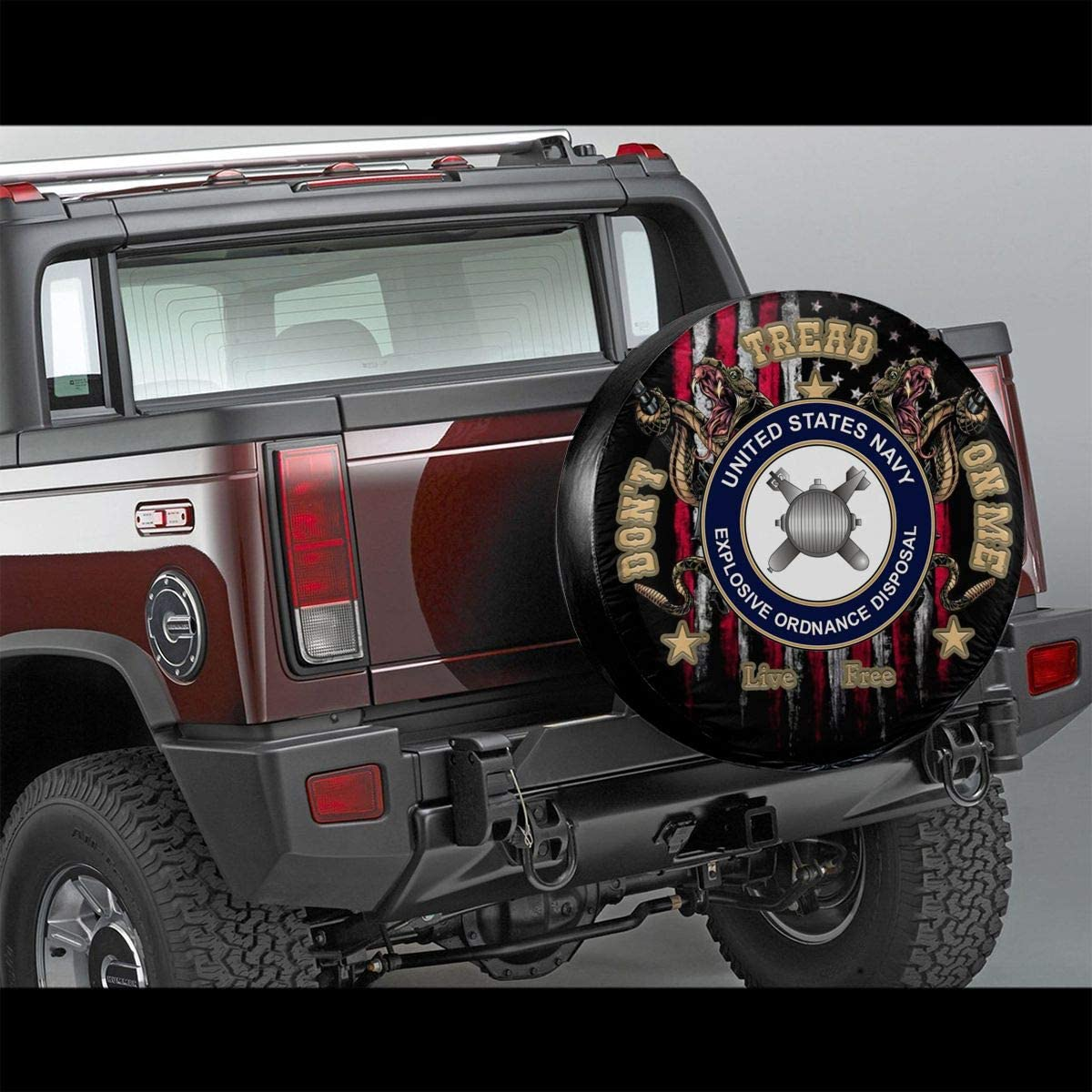 Dont Tread On Me US Navy Veteran Spare Wheel Tire Cover for Jeep Trailer RV SUV Truck
