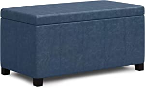 SIMPLIHOME Dover 36 inch Wide Contemporary Rectangle Storage Ottoman Bench in Denim Blue Faux Leather