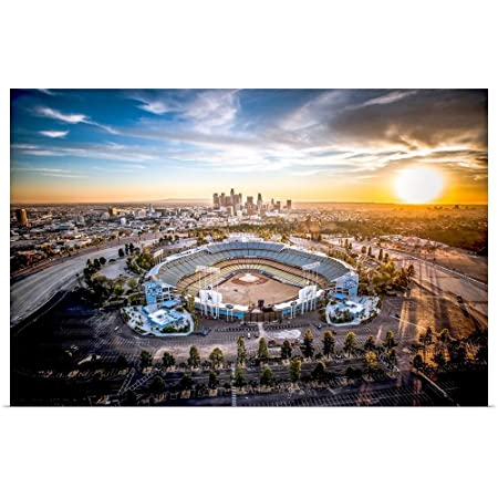 Great Big Canvas Poster Print Entitled Aerial View of The Dodgers Stadium with The Los Angeles Skyline in The Distance by Copterpilot Photography 36 x24