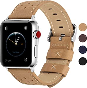 Fullmosa Compatible Apple Watch Band 42mm 44mm 40mm 38mm, Breeze Leather Band Compatible iwatch Series SE, Series 6, Series 5, Series 4, Series 3 ,Series 2, Series 1, 42mm 44mm Khaki