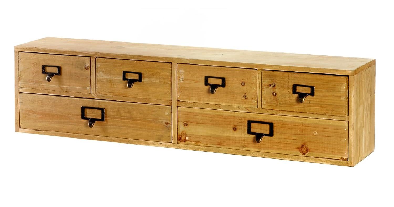 Geko Wide 6 Drawers Storage Organizer, Wood, Brown, 80 x 15 x 20 cm N0104