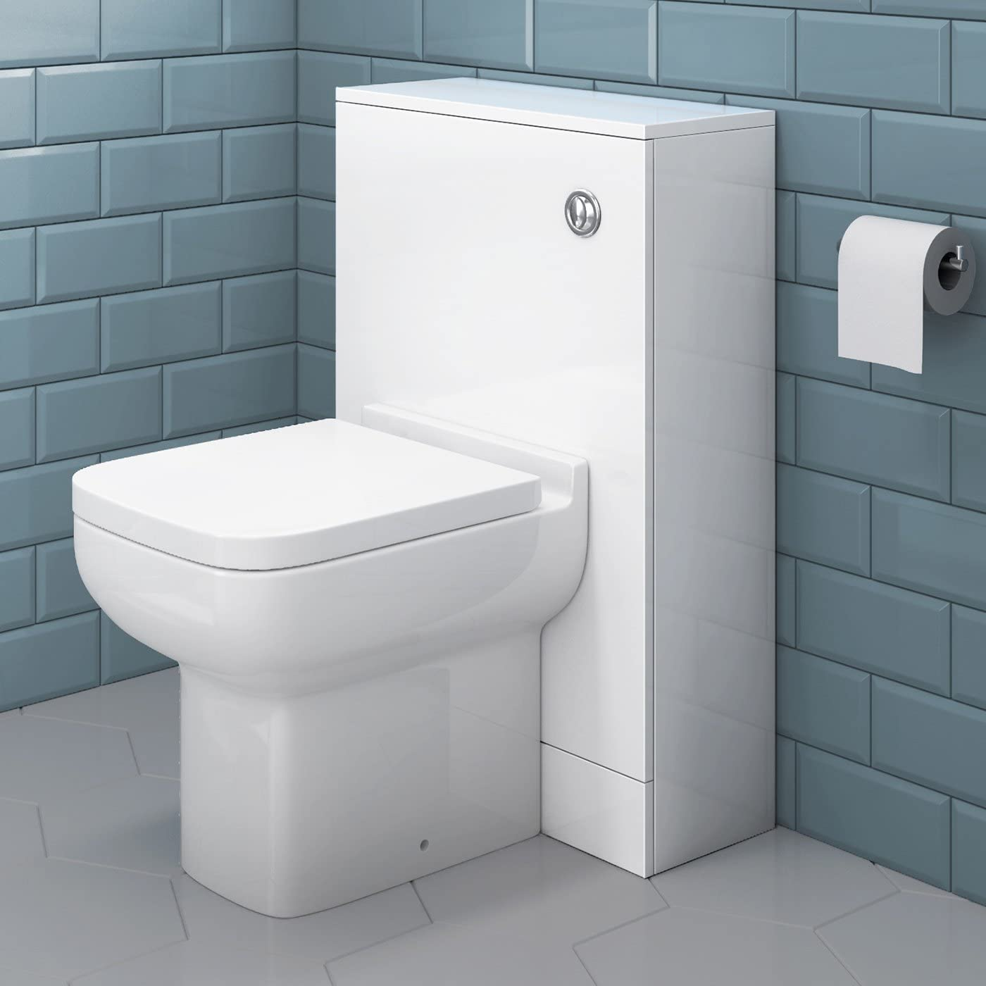 Short Projection Back To Wall Toilet + Bathroom Furniture Cloakroom WC Unit