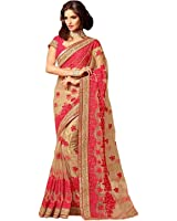 C&H Net Saree With Blouse Piece (Vs-05_Beige Red_Free Size)