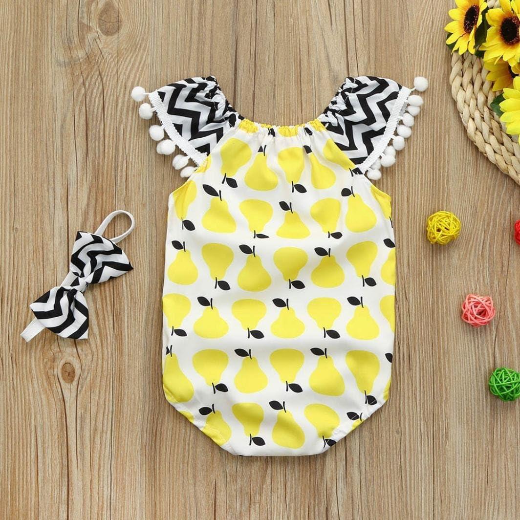 Jchen TM for 0-24 Months Newborn Infant Baby Girl Fruits Print Tassel Playsuit Jumpsuit Romper Headband Set