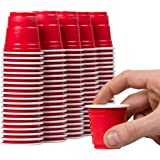 Disposable Shot Glasses - 100 Mini Cups Red Solo Party - Plastic Shot Cups - Jello Shots - Jager Bomb Cups - Beer Pong Cups - Perfect Size for Serving Condiments, Nuts and Samples