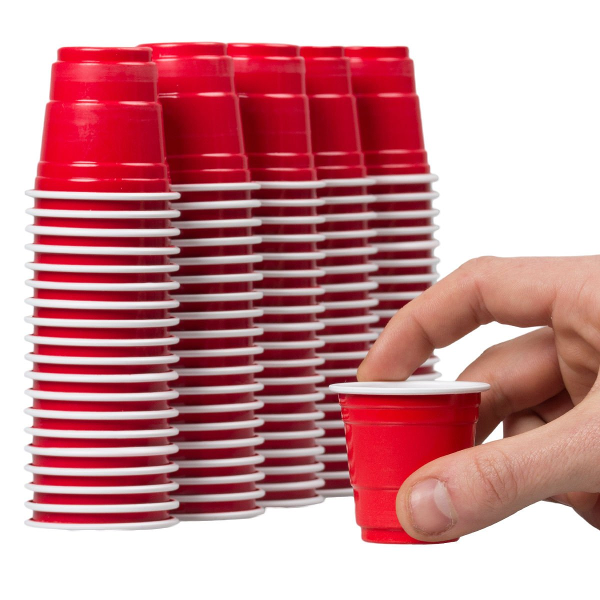 Disposable Shot Glasses - 100 Mini Cups Red Solo Party - Plastic Shot Cups - Jello Shots - Jager Bomb Cups - Beer Pong Cups - Perfect Size for Serving Condiments, Nuts and Samples by TopNotch Outlet