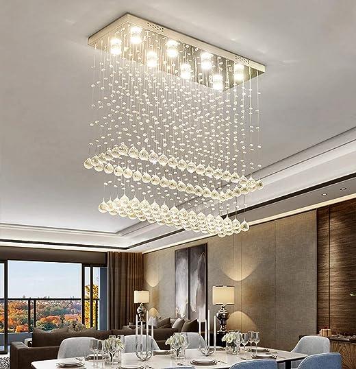 Rectangular Crystal Chandelier Modern LED 10-Lights Pendant Lights 2-Tiers K9 Raindrop Flush Mount Ceiling Lighting Fixture