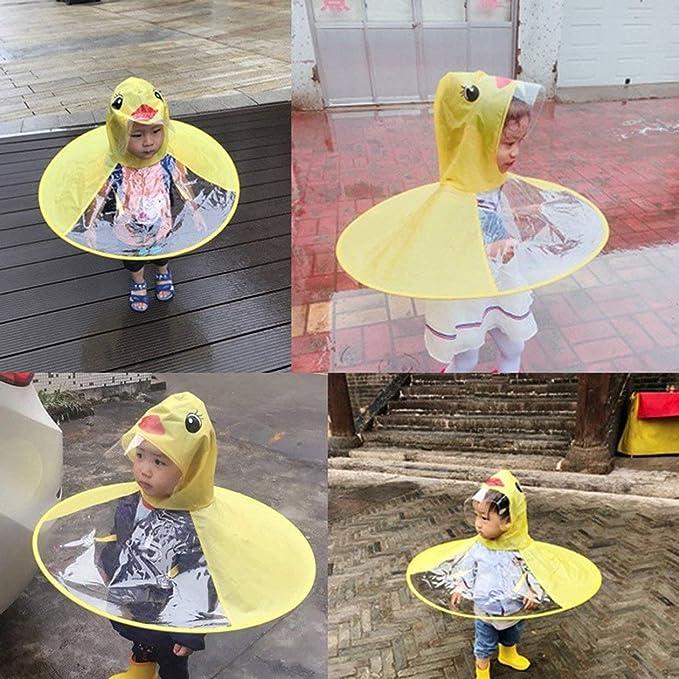 Amazon.com  Heraihe Creative Cartoon Duck Rain Hat Foldable Children  Raincoat Umbrella Cape Cute Rain Coat Cloak Universal for Boys Girls  Home    Kitchen 1756b1e87d58