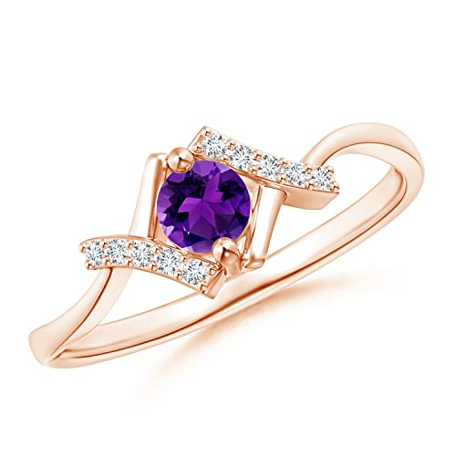 Angara Diamond Accents Solitaire Bypass Ring in Rose Gold ukryaCK6B2