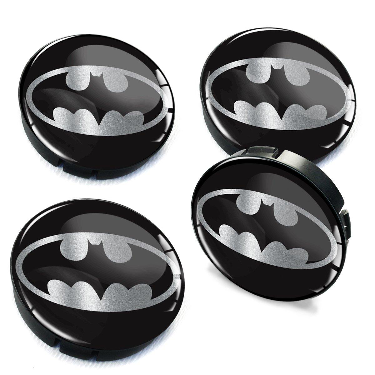 Skino 4 x 60mm Silikon Nabenkappen Kappen Batman Silber Felgendeckel Radkappen Radnabendeckel Nabendeckel Auto Tuning C 72