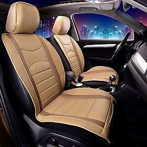 FH Group PU207BEIGETAN102 Beige/Tan Leatherette Car Seat Cushions Airbag Compatible