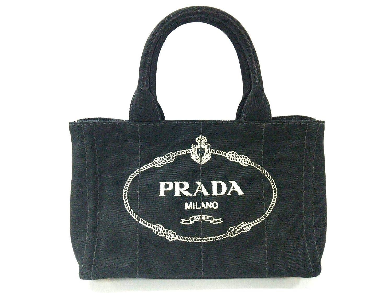 (プラダ)PRADA トートバッグ CANAPA 黒×ベージュ 1BG439 【中古】 B07MD84SWZ