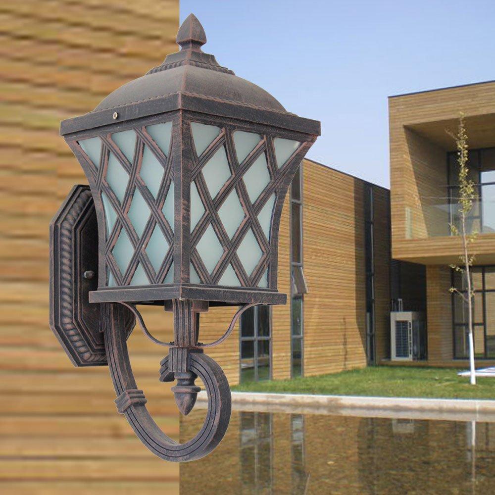 Hdmy Lampada da parete esterna in alluminio impermeabile in vetro Lanterna Lampada da giardino antica vintage porta della casa Lampada da giardino con luci a LED E27 Lampada da parete decorativa
