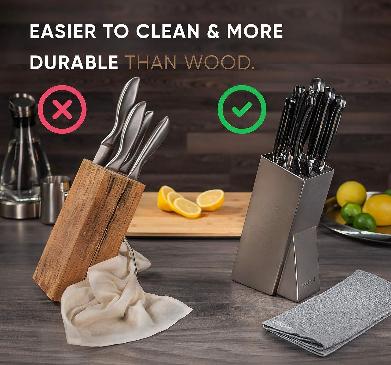 Amazon.com: leeffood bloque para cuchillos de acero ...