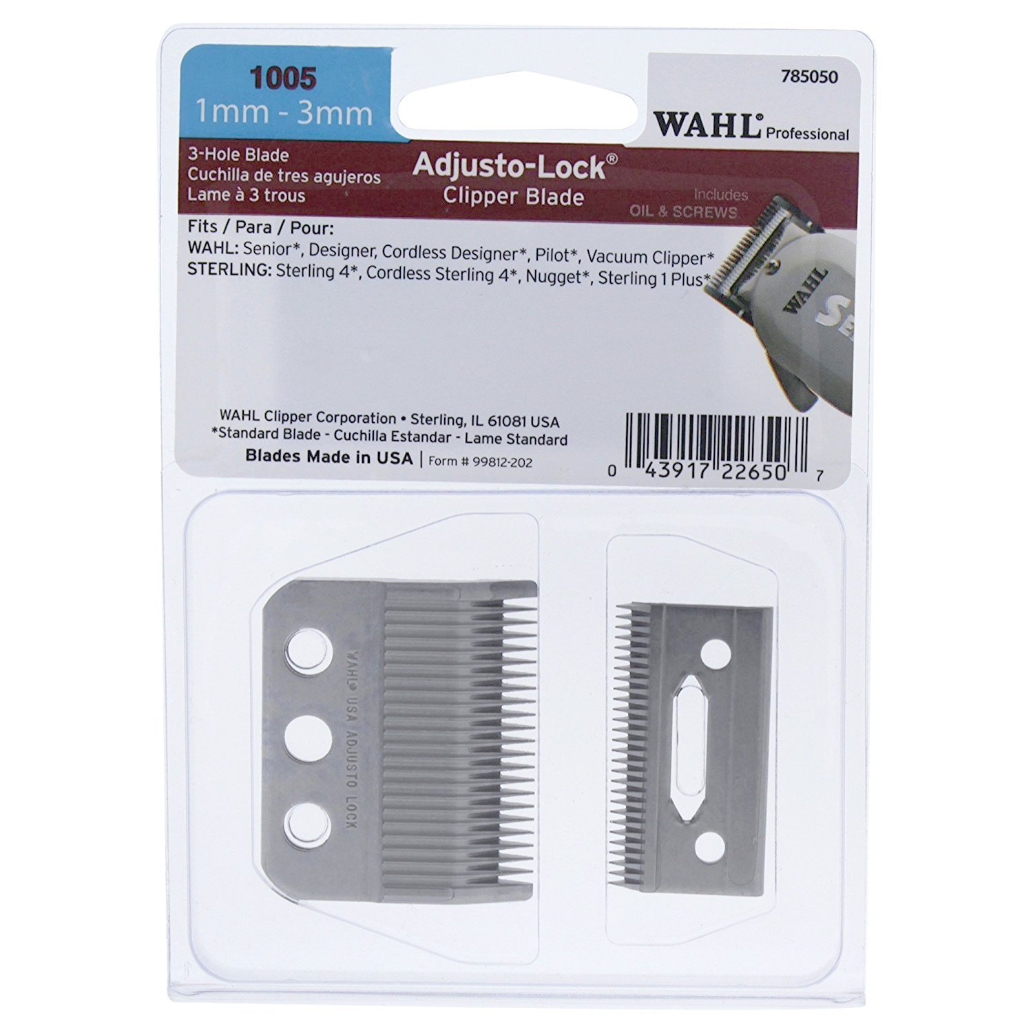 Amazon wahl professional adjusto lock 1mm 3mm clipper professional adjusto lock 1mm 3mm clipper blade 1005 great for professional stylists and barbers includes oil screws instructions beauty falaconquin