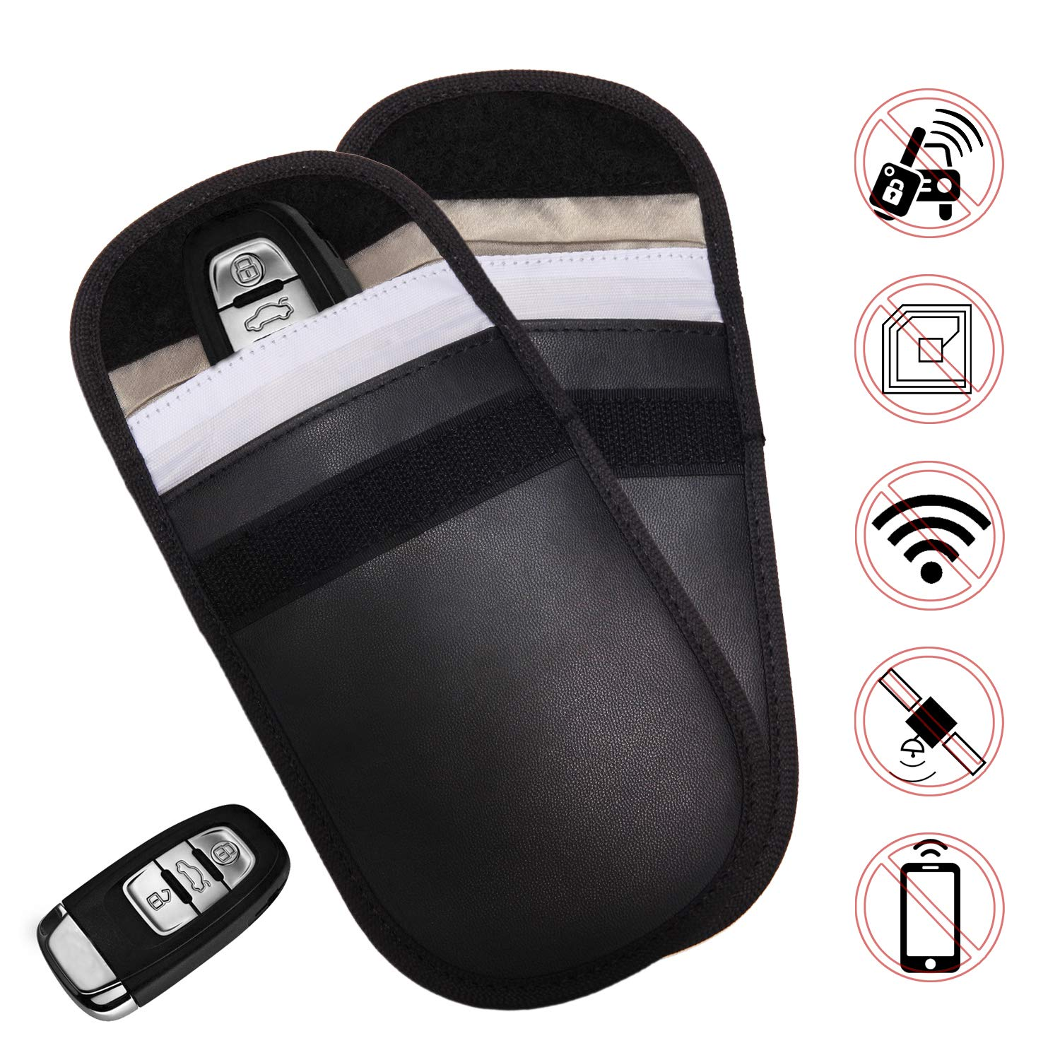 Ruconla Car Key Signal Blocker Case 2 Pack Secure Signal Blocker Pouch Bag RFID Blocking Credit Card Protector Antitheft Lock Devices Block Any Signal of WiFi/GSM/LTE/NFC/RFID Shenzhen Hi-Fortune Technology Co. Ltd