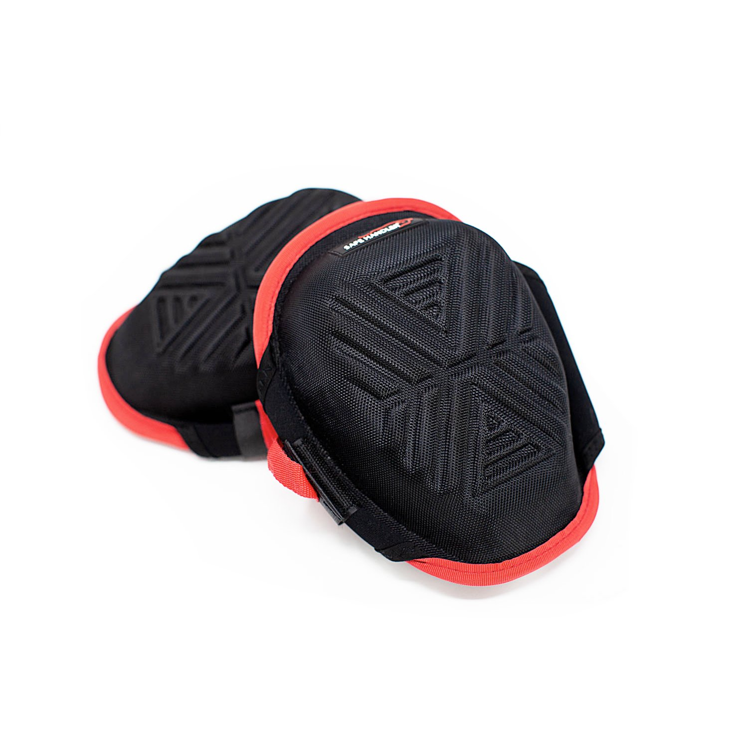 SAFE HANDLER Xtra Strong Gel Knee Pads with Memory Foam | Comfortable, Heavy Duty, Easily Adjustable, No Scratch Fabric (Strong Gel Red) by Safe Handler (Image #1)