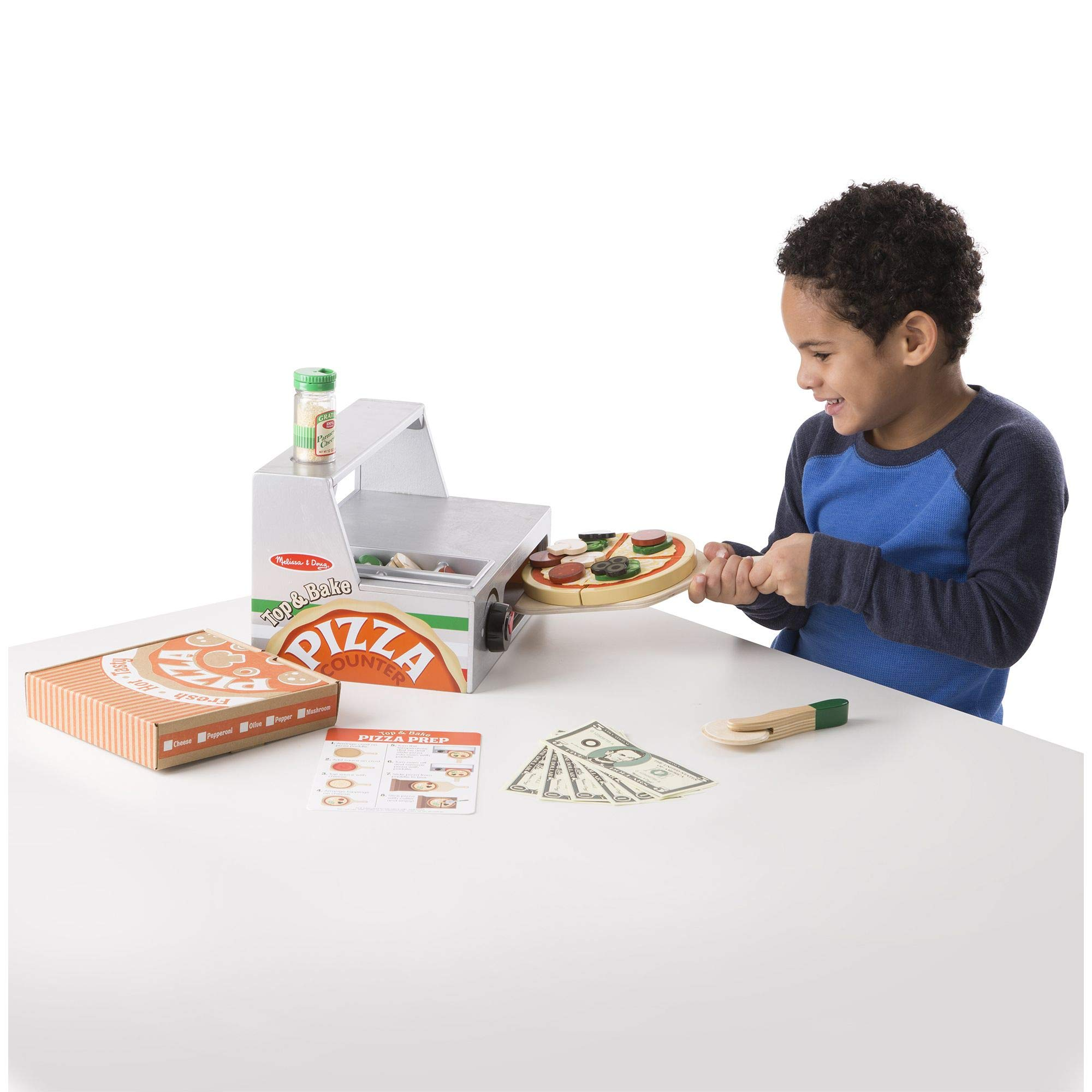 Melissa & Doug Top and Bake Wooden Pizza Counter Play Food Set (Pretend Play, Helps Support Cognitive Development, 34 Pieces, 7.75'' H x 9.25'' W x 13.25'' L) by Melissa & Doug (Image #5)