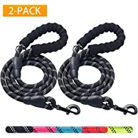 Haapaw 2 Pack 5 FT Heavy Duty Dog Leash with Comfortable Padded Handle Reflective Dog leashes for Medium Large Dogs (Black/Black)