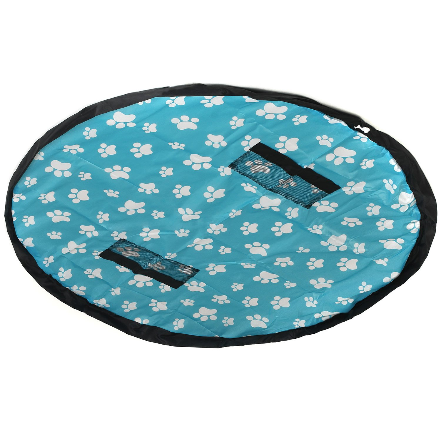TUKA 59inch Kids Play Mat & Toy Storage Bag, 151cm Diameter Double Layers Play Mat for Play & Quick Collection & Storage of Toys such as Legos, Dupla, etc. Foldable, Waterproof, TKD4006 bluefootprint TUKAI