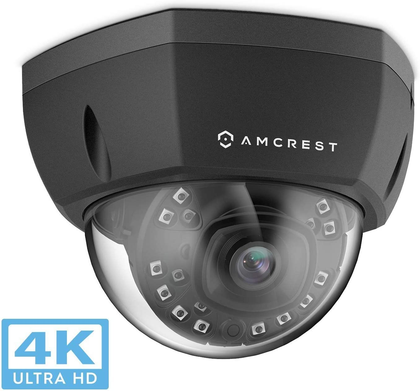 Amcrest 4K Outdoor POE IP Camera, UltraHD 8MP Security Camera, 3840x2160P Resolution, IK10 Vandal Resistant Dome, 2.8mm Lens, IP67 Weatherproof Security, Cloud MicroSD Recording IP8M-2493EB