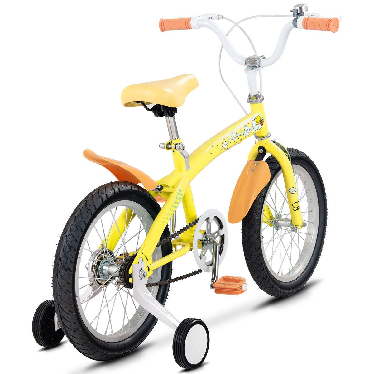 FDInspiration Yellow 45'' x 31.5'' Metal Frame Kids Bike w/Training Wheels with Ebook