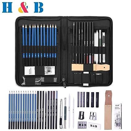 H&B Lápices de bocetos de Set Kit de dibujo de artistas en caja de cremallera con boceto, todos los accesorios diversos y de arte para su pintura (40 ...