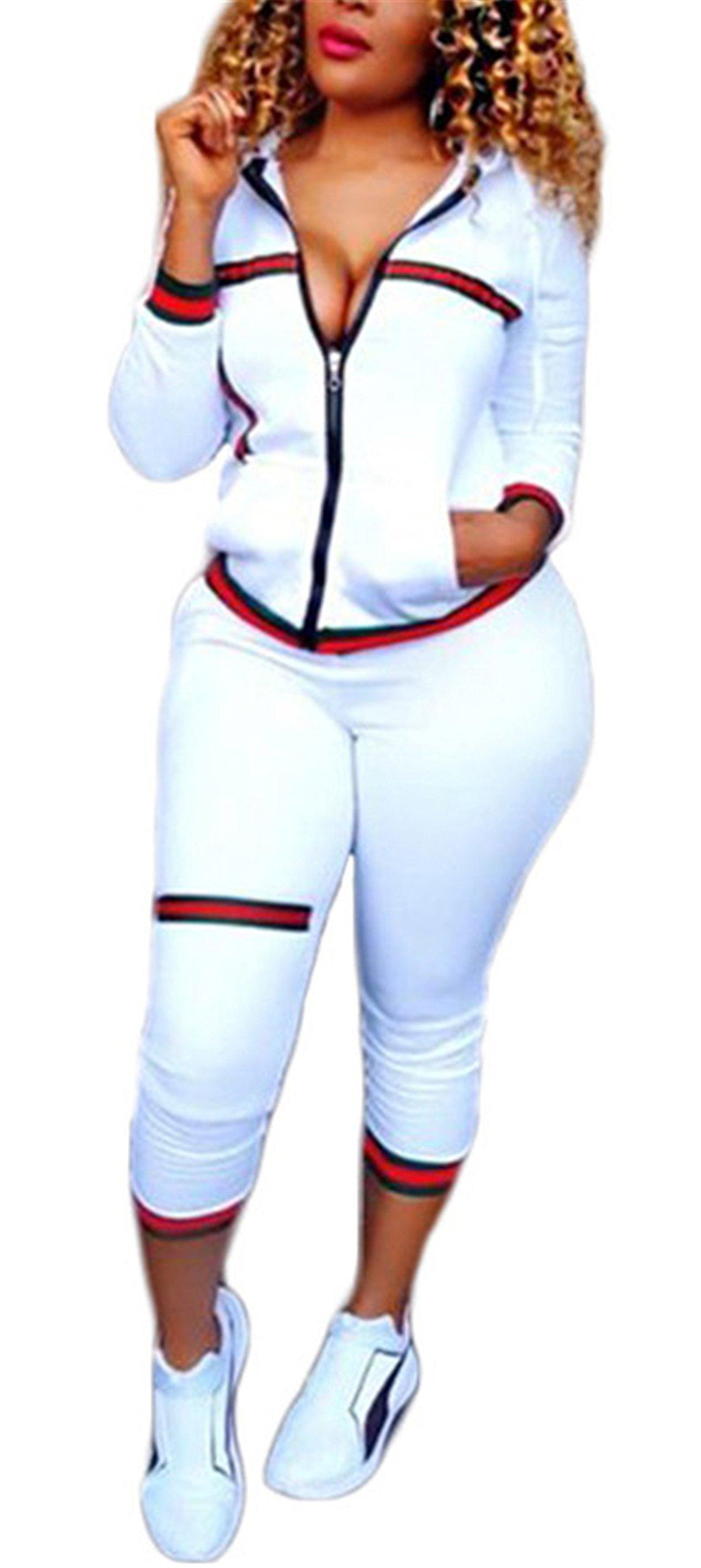 Women's Autumn Long Sleeve Slim Two Pieces Outfit Set Zipper Hoodied Crop Top + Pant Set Jumpsuit Dress Sports Suit White L