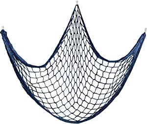 Cotton Fishing Net Decorative 79 Inch Beach Themed Decor Home Bedroom Party Wall Decoration Fish Netting Decorative (Blue)