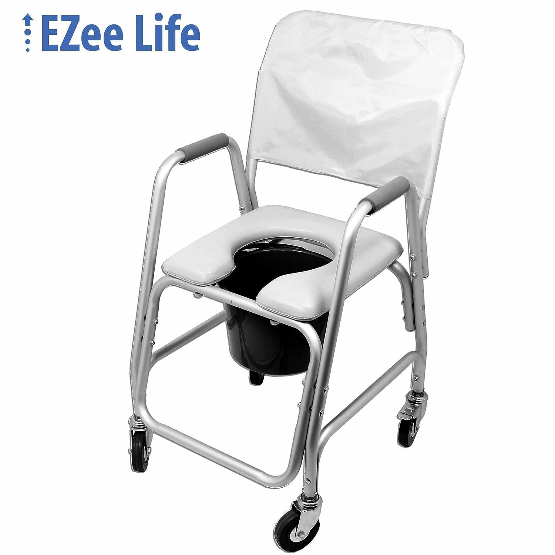 Ezee Life Wheeled Commode - Padded Seat Factory Direct Medical