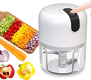 Electric Mini Chopper Food Processor, Cordless Garlic Press Chopper, Portable Small Food Processor for Vegetable/Salad/Meat/Nut/Onions (250ml/8.8oz)