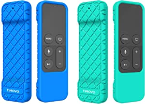 TiMOVO Protective Case Compatible for Apple TV 4K/4th Gen Remote, [2 Pack] Anti Slip & Shock Proof Skin, Lightweight Soft Silicone Cover Fit Apple TV 4K Siri Remote Controller - Blue & Green