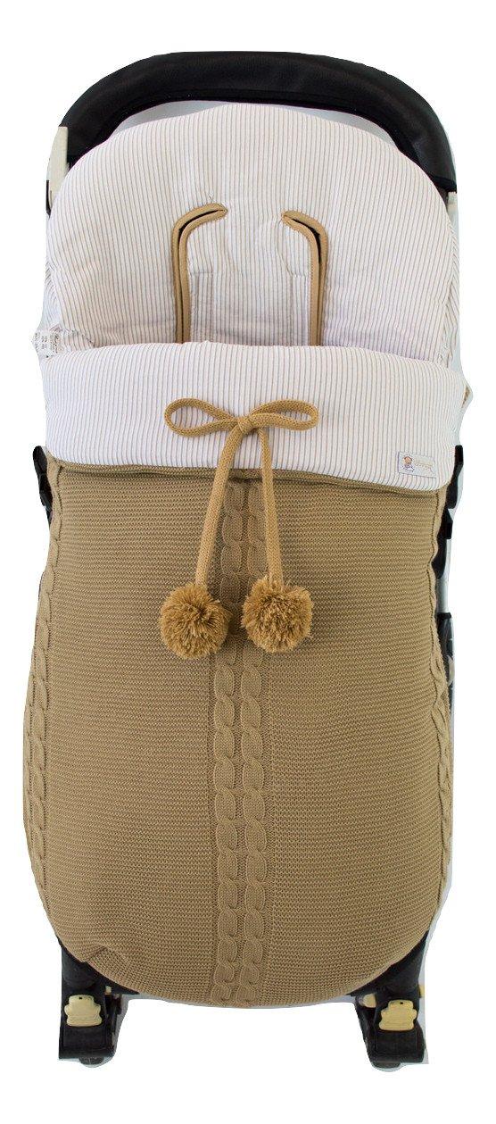 Saco silla de paseo universal de invierno en punto de lana y algodón de rayas. Modelo sophie. Camel/camel: Amazon.es: Bebé